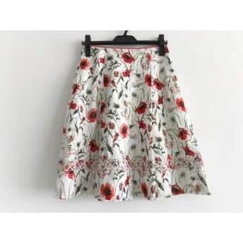 【中古】 ハロッズ HARRODS スカート サイズ2 M レディース 美品 白 レッド マルチ 花柄