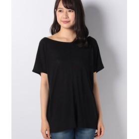 (SISLEY/シスレー)リネン混ボートネックルーズフレンチ半袖Tシャツ・カットソー/レディース ブラック