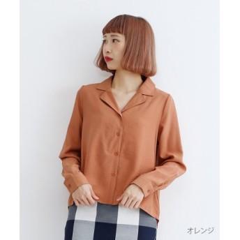 (merlot/メルロー)オープンカラーシャツ/レディース オレンジ