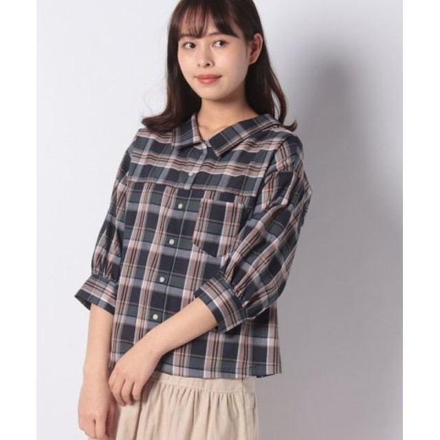 (ehka sopo/エヘカソポ)チェック柄ビッグシャツ/レディース ネイビー