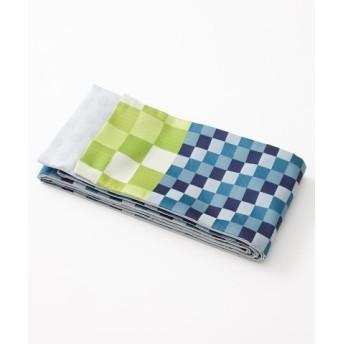 (FURIFU/ふりふ)半巾帯「いろいろ市松」/レディース ターコイズブルー 送料無料