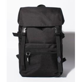 (Laplace box/ラプラスボックス)カラビナ付フロントメッシュフラップリュック/ユニセックス ブラック