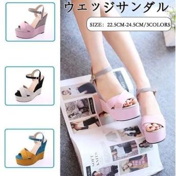 サンダル ウェッジソール シューズ レディース 韓国ファッション 春夏 履きやすい サンダル 厚底 美脚 靴 コンフォート 歩きやすい