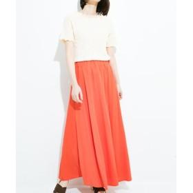 (haco!/ハコ)楽ちん便利な きれいめカットソーマキシスカート/レディース オレンジ 送料無料