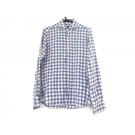 【中古】 オリアン ORIAN 長袖シャツ メンズ 白 ブルー ネイビー vintage/チェック柄