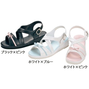 【送料無料】オフィスサンダル クロスストラップリボンサンダル ホワイト×ピンク M(22.5~23.0cm)