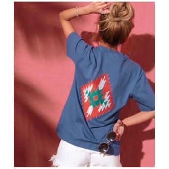 (ANAP/アナップ)オルテガ刺繍Tシャツ/レディース NVY
