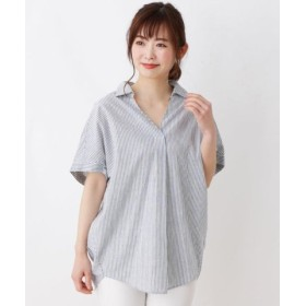 (3can4on/サンカンシオン)【洗える】綿リネンスキッパーシャツ/レディース ブルー(392)