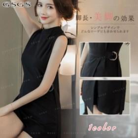 レディース ノースリーブ オールインワン パンツドレス ショートパンツ ハイウエスト 体型カバー ファッション