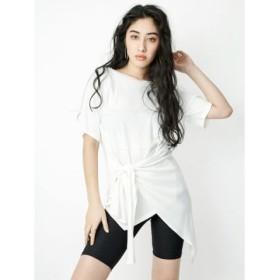 (EVRIS/エヴリス)アシンメトリーリボンTシャツ/レディース ホワイト