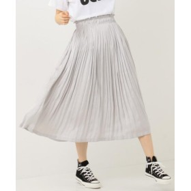 (SHARE PARK/シェアパーク)モイストサテンプリーツ スカート/レディース ライトグレー系