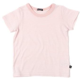 (COMECHATTO & CLOSET/カムチャットアンドクロゼット)ガーゼテンジクボーダー 半袖 Tシャツ/レディース ピンク