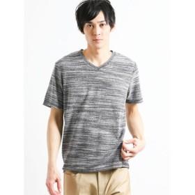 (TAKA-Q/タカキュー)接触冷感 タイガー杢パイルVネック半袖Tシャツ/メンズ ブラック
