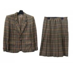 【中古】 ダックス DAKS スカートスーツ レディース ベージュ 黒 ブラウン チェック柄