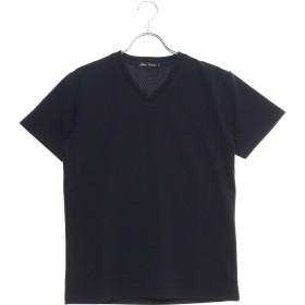 スタイルブロック STYLEBLOCK フクレジャガードへリンボン柄VネックTシャツ (ネイビー)