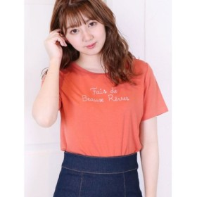 (dazzlin/ダズリン)メッセージ刺繍Tシャツ/レディース オレンジ