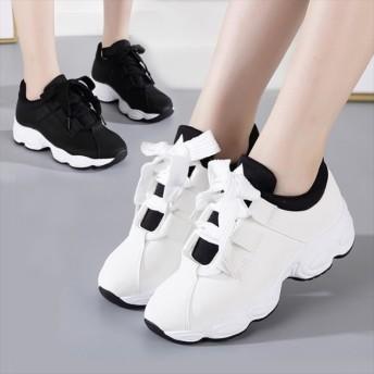 スニーカー - Rutta リボン ダッドスニーカー 厚底 シンプル 韓国 ファッション レディース シューズ 靴 スニーカー シンプル カジュアル きれいめ大人 レースアップ