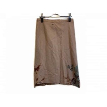【中古】 ツモリチサト スカート サイズ2 M レディース 美品 ベージュ ライトグリーン ブラウン 花柄