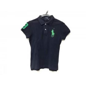 【中古】 ラルフローレン 半袖ポロシャツ サイズM レディース ビッグポニー ネイビー グリーン