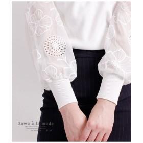 (Sawa a la mode/サワアラモード)花模様シースルー袖のニットトップス/レディース ホワイト 送料無料