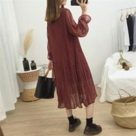 2019年春夏 新作 シースルー フレア 長袖 チュール ワンピース デート 女子会 合コン