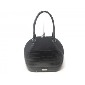【中古】 サムソナイト Samsonite ハンドバッグ 黒 型押し加工 レザー 化学繊維