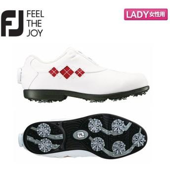 「レディース」 フットジョイ ゴルフ ウィメンズ eコンフォート ボア 98625 ゴルフシューズ ホワイト×レッド FootJoy FJ ECOMFORT WT×RD