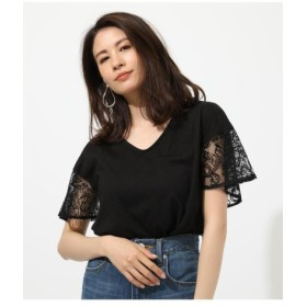 (AZUL BY MOUSSY/アズールバイマウジー)LACE SLEEVE TOP/レディース BLK