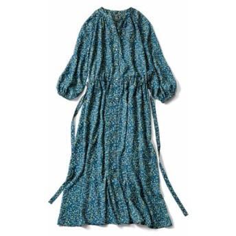 大人フラワープリントのロングシャツドレス〈ダークグリーン〉 IEDIT[イディット] フェリシモ FELISSIMO【送料無料】