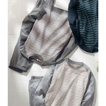 【レディース】 綿100%で抗菌防臭のTタイプパジャマ(男女兼用) ■カラー:グレー ■サイズ:S,3L,5L