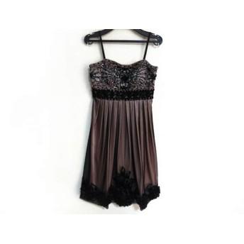 【中古】 スーウォン SUEWONG ドレス サイズ0 XS レディース 黒 ピンク ビーズ/スパンコール/シースルー