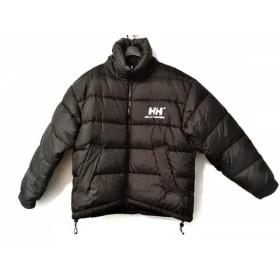 【中古】 ヘリーハンセン ダウンジャケット サイズMEDIUM M メンズ 黒 白 リバーシブル/冬物