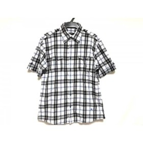 【中古】 バーバリーブラックレーベル 半袖シャツ サイズ2 M メンズ 白 黒 ライトブルー チェック柄