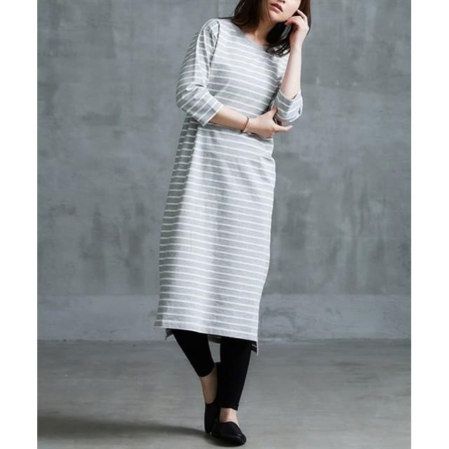 綿混 半端袖ボーダーTシャツワンピース (ワンピース),dress