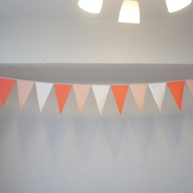 布ガーランド 290cm フラッグ 旗 結婚式 誕生日 パーティー キャンプ 飾り ピーチ