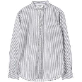 【5,000円以上お買物で送料無料】mens 綿麻ロンスト&ギンガムバンドカラーシャツ