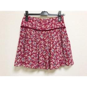 【中古】 アプワイザーリッシェ スカート サイズ1 S レディース レッド ピンク ライトブルー 花柄