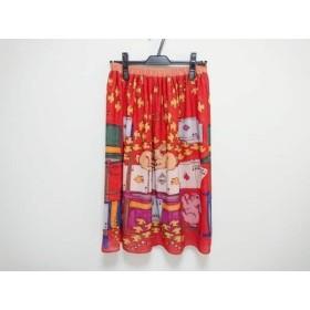 【中古】 ホコモモラ JOCOMOMOLA スカート サイズ40 XL レディース 美品 レッド イエロー マルチ