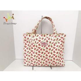 キャスキッドソン ハンドバッグ アイボリー×ピンク×グリーン 花柄 コーティングキャンバス   スペシャル特価 20190822