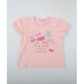 (BEBE ONLINE STORE/べべオンラインストア)ストライプジャガード天竺クマプリントTシャツ/レディース ピンク