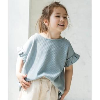 (pairmanon/ペアマノン)ワッフル袖フリル半袖Tシャツ/レディース グレー