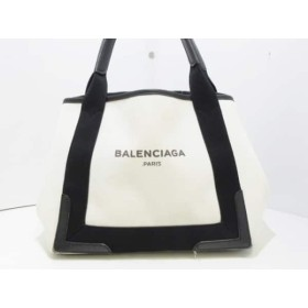 【中古】 バレンシアガ トートバッグ ネイビーカバS 339933 アイボリー 黒 キャンバス レザー