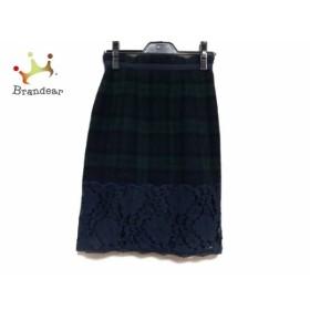 アプワイザーリッシェ スカート サイズ1 S レディース 美品 ダークネイビー×ダークグリーン×黒   スペシャル特価 20190813