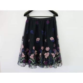 【中古】 ローズティアラ スカート レディース 美品 黒 ピンク マルチ チュールレース/刺繍/フラワー