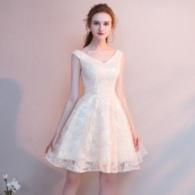 イブニングドレス ノースリーブ パーティードレス レディース ショート丈 ワンピース Vネック Aラインドレス 二次会 結婚式 ドレス お呼