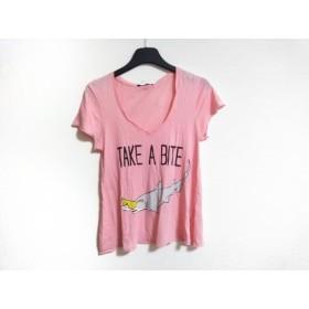 【中古】 ワイルドフォックス 半袖Tシャツ サイズS レディース ピンク ライトグレー マルチ サメ