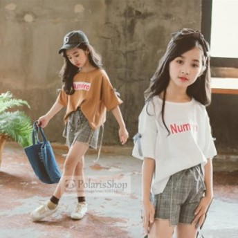 子供服 セットアップ 女の子 夏 半袖 韓国子供服 キッズ 可愛い Tシャツ ショートパンツ 上下2点セット 半袖Tシャツ チェック柄 カジュア