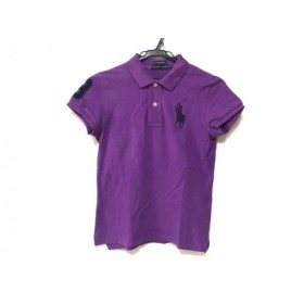 【中古】 ラルフローレン 半袖ポロシャツ サイズM レディース ビッグポニー パープル ダークネイビー