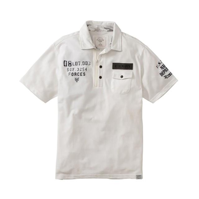 カノコミリタリーデザイン半袖ポロシャツ ポロシャツ