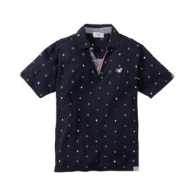 カノコ総柄プリントスキッパー半袖ポロシャツ ポロシャツ